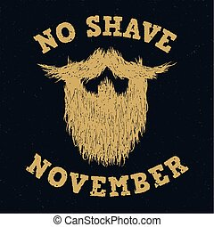 Beard silhouette with No Shave November golden lettering...