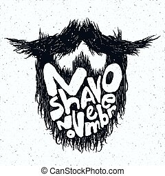 Beard silhouette with No Shave November lettering print -...