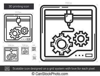 Three D printing line icon. - Three D printing vector line...