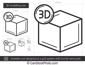 Three D modelling line icon. - Three D modelling vector line...