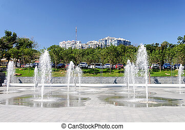 Fountains near the dolphinarium in Odessa, Ukraine