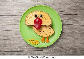 queso, hecho, placa, divertido, escritorio, pollo,  bread