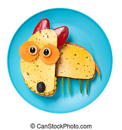 queso, hecho, placa, toro,  terrier,  bread