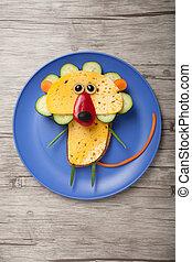 queso, hecho,  bread, placa, vegetales, león, tabla