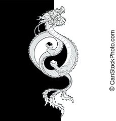 Oriental Dragon Yin-Yang - Vector Illustration of a flying...