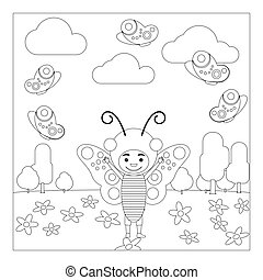 Kid in butterfly dress coloring page