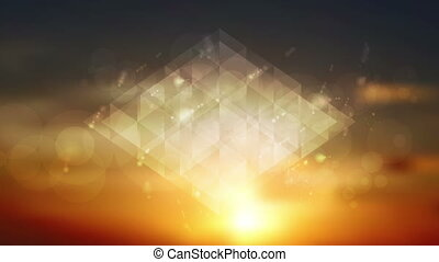 Abstract shiny sparkling triangles on sunset sky motion...