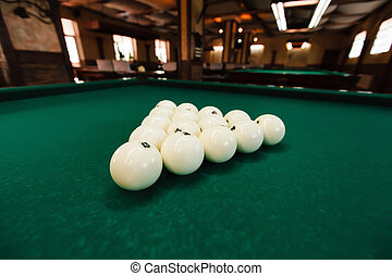 Cue balls - View of cue balls on the green table