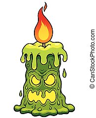 Candle monster - Vector illustration of Cartoon Candle...