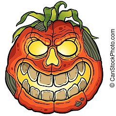Halloween Pumpkin - Vector illustration of Cartoon Halloween...