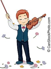 Kid Violin Perform Flowers - Illustration of a Young Violin...