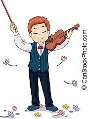 Kid Violin Perform Flowers