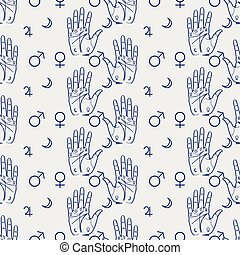 Palmistry seamless pattern with hand and isoteric signs....