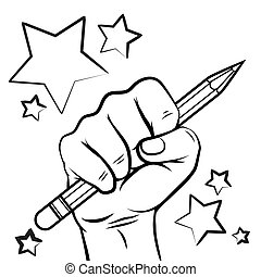 School sketch with hand pencil and stars isolated on white...