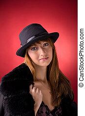 Romantic girl in stylish hat