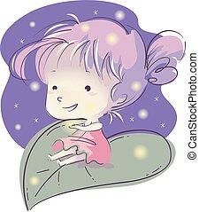 Kid Girl Fireflies - Illustration of a Little Girl Sitting...