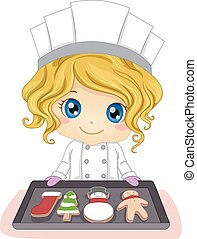 Kid Girl Pastry Christmas Pastry - Illustration of a Little...