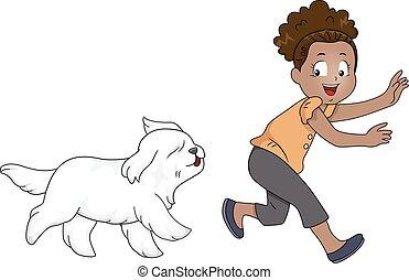Kid Girl Play Chase Dog