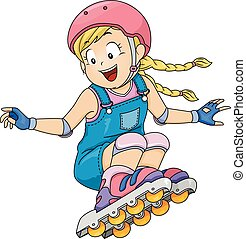 Kid Girl Roller Skates - Illustration of a Little Girl Doing...