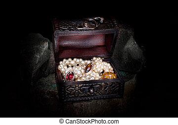 Treasure chest in a dark cave