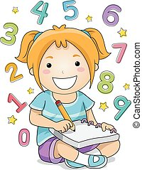 Kid Girl Solving Numbers - Illustration of a Little Girl...