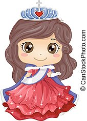 Kid Girl Beauty Queen - Illustration of a Young Beauty Queen...