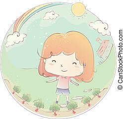Kid Girl Garden Beetroot - Illustration of a Little Girl...