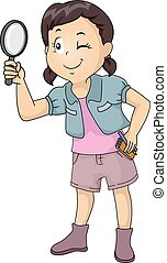Kid Girl Magnifying Glass Notes