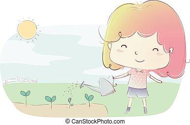 Kid Girl Watering Plants