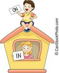 Kids Playhouse On In - Illustration of a Little Boy and Girl...