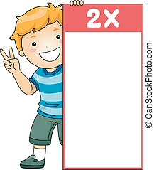 Kid Boy Multiplication Table Flash Card Two - Illustration...