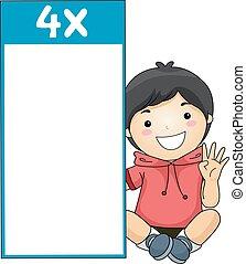 Kid Boy Multiplication Table Flash Card Four - Illustration...
