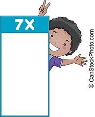 Kid Boy Multiplication Table Flash Card Seven - Illustration...
