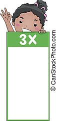 Kid Girl Multiplication Table Flash Card Three -...