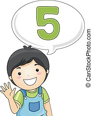 Kid Boy Count - Illustration of a Little Boy Gesturing the...