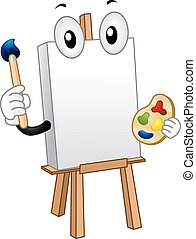 Mascot Canvass Paint - Mascot Illustration of a Blank Canvas...