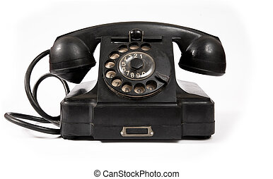 Old black phone with dust and scratches, isolated on white...