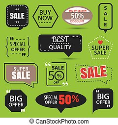 Set of commercial sale stickers, elements badges and labels collection