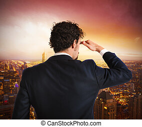 Businessman looking to the future - Businessman view from...