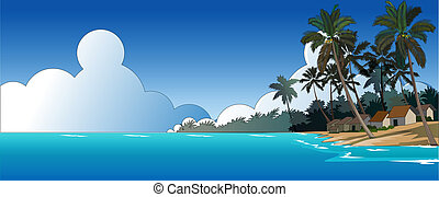 Beautiful Beach - Vector Illustration, landscape beautiful...