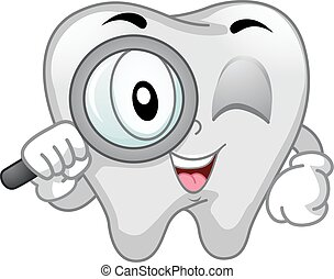 Mascot Tooth Magnifying Glass - Mascot Illustration of a...