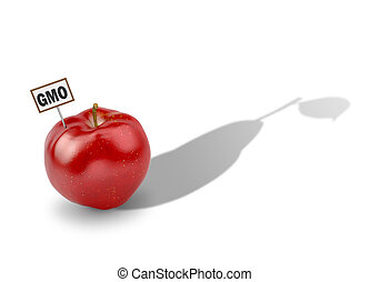 The concept of genetically modified products. Apple pear...