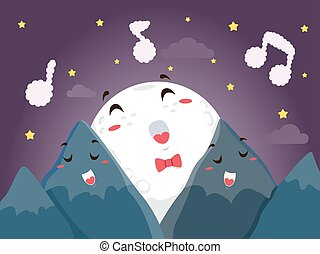 Mascot Moon Mountains Sing - Mascot Illustration of a Full...