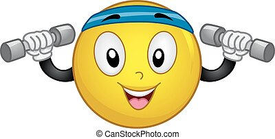 Smiley Lift Weights Dumbbells - Mascot Illustration of an...