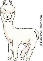 Furry Alpaca Looking Back - Animal Illustration of a Cute...