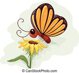 Butterfly Flower Pollination - Whimsical Animal Illustration...
