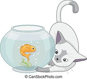 Cat Play Fish Aquarium