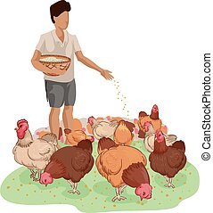 Farm Boy Chicken Feed - Illustration of a Farm Boy Carrying...