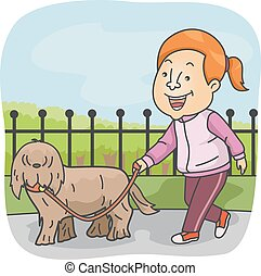 Sporty Girl Walking Dog - Illustration of a Sporty Girl in...