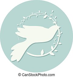 Dove Peace Icon Olive Leaves - Illustration of a Peace Icon...